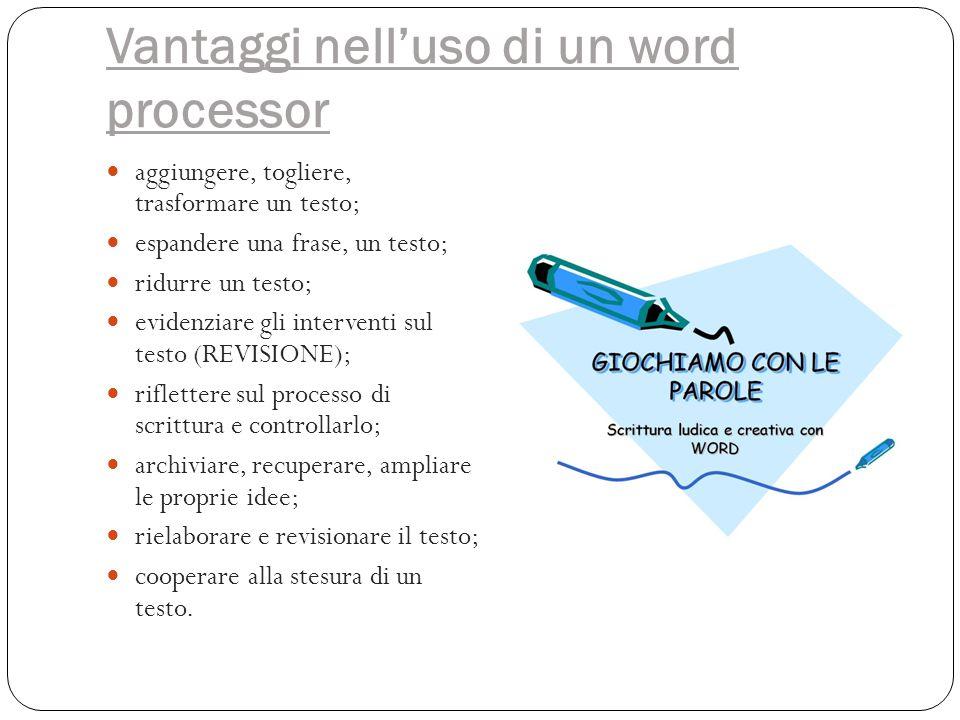 Vantaggi nell'uso di un word processor