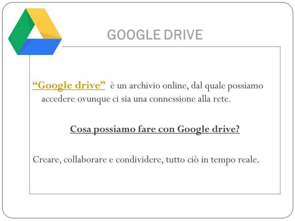 Cosa possiamo fare con Google drive