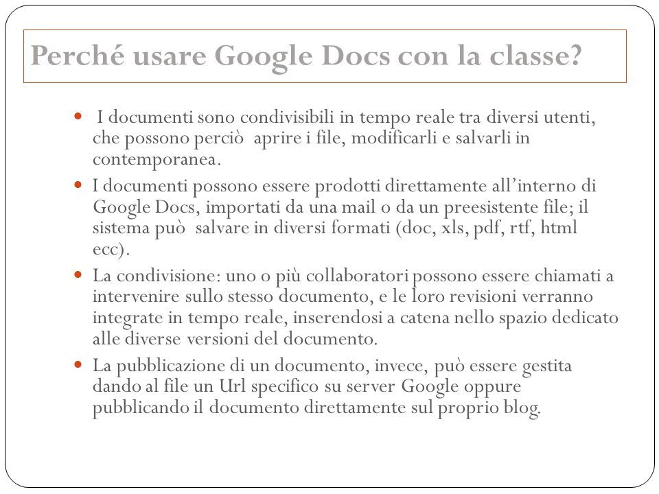 Perché usare Google Docs con la classe