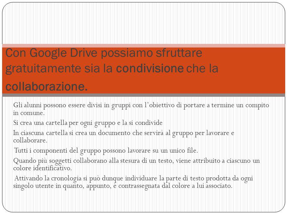 Con Google Drive possiamo sfruttare gratuitamente sia la condivisione che la collaborazione.