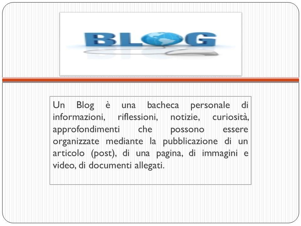 Un Blog è una bacheca personale di informazioni, riflessioni, notizie, curiosità, approfondimenti che possono essere organizzate mediante la pubblicazione di un articolo (post), di una pagina, di immagini e video, di documenti allegati.