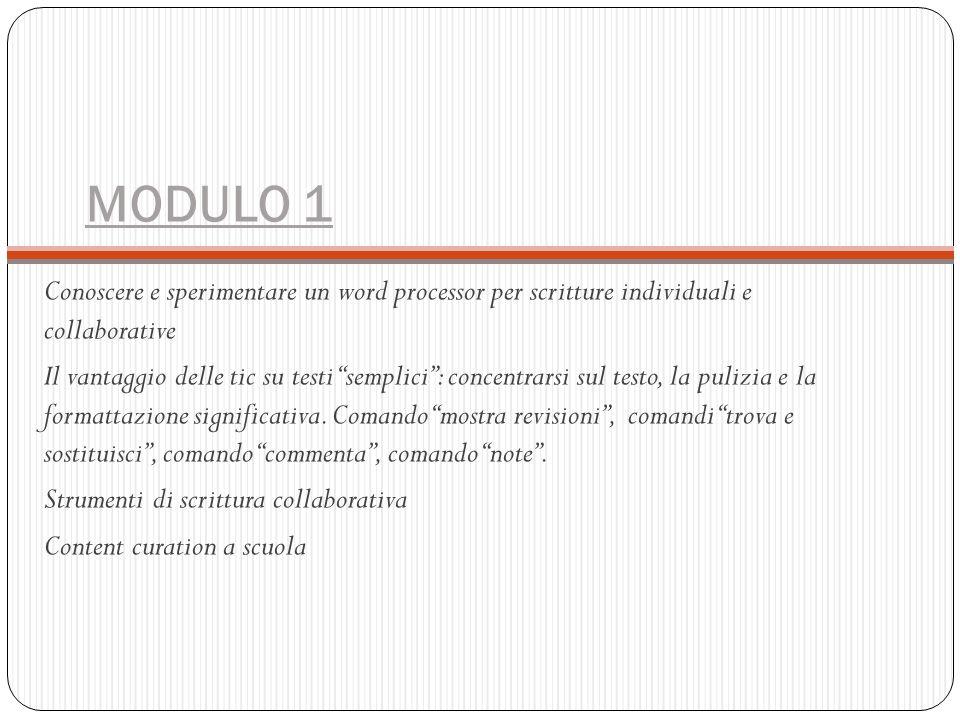 MODULO 1 Conoscere e sperimentare un word processor per scritture individuali e collaborative.