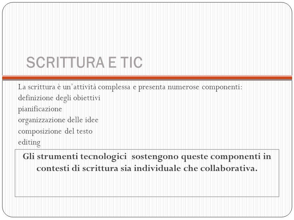 SCRITTURA E TIC La scrittura è un'attività complessa e presenta numerose componenti: definizione degli obiettivi.