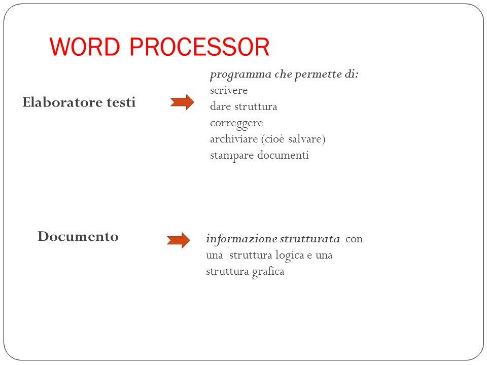 WORD PROCESSOR Elaboratore testi Documento programma che permette di: