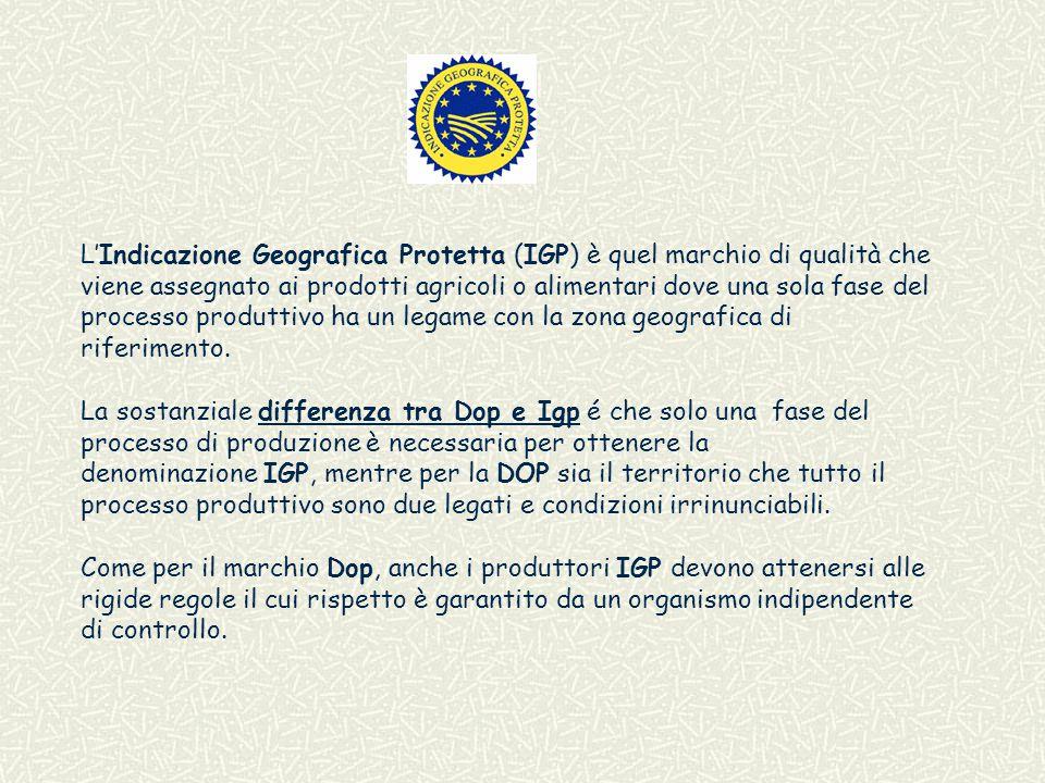 L'Indicazione Geografica Protetta (IGP) è quel marchio di qualità che viene assegnato ai prodotti agricoli o alimentari dove una sola fase del processo produttivo ha un legame con la zona geografica di riferimento.
