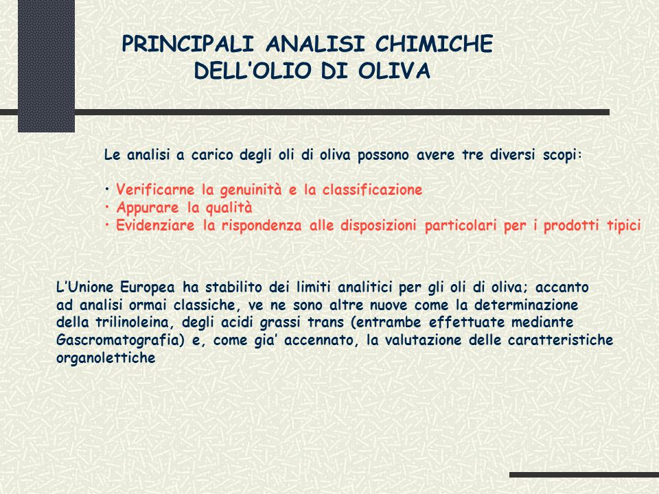 PRINCIPALI ANALISI CHIMICHE