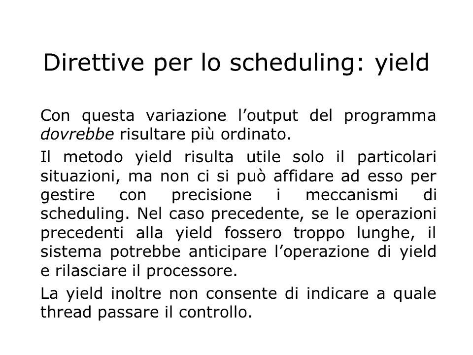 Direttive per lo scheduling: yield
