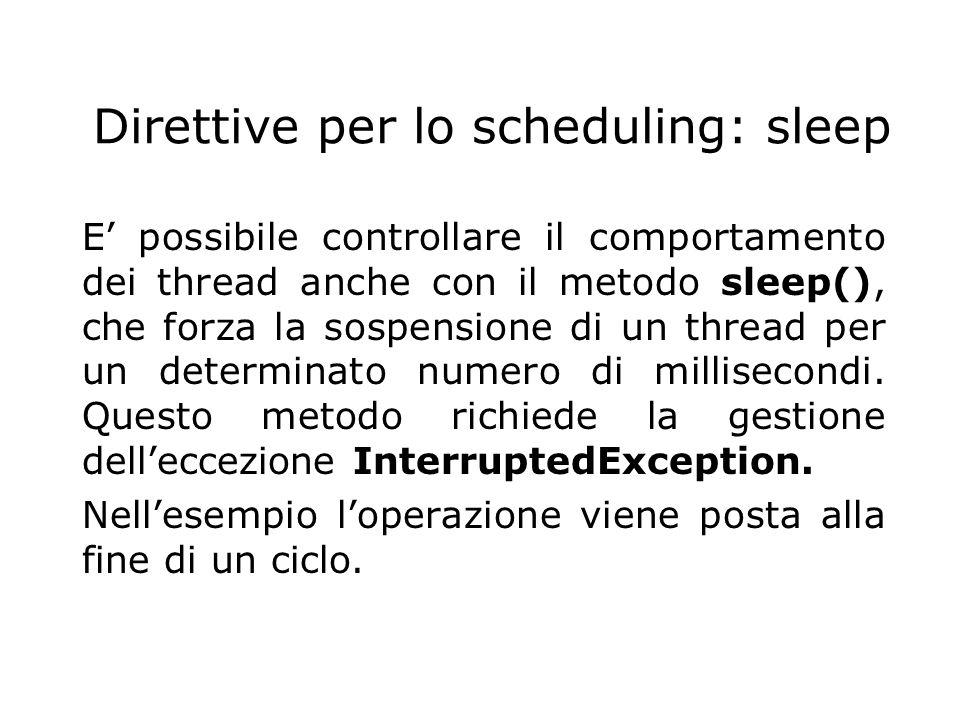 Direttive per lo scheduling: sleep