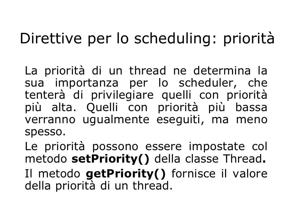 Direttive per lo scheduling: priorità