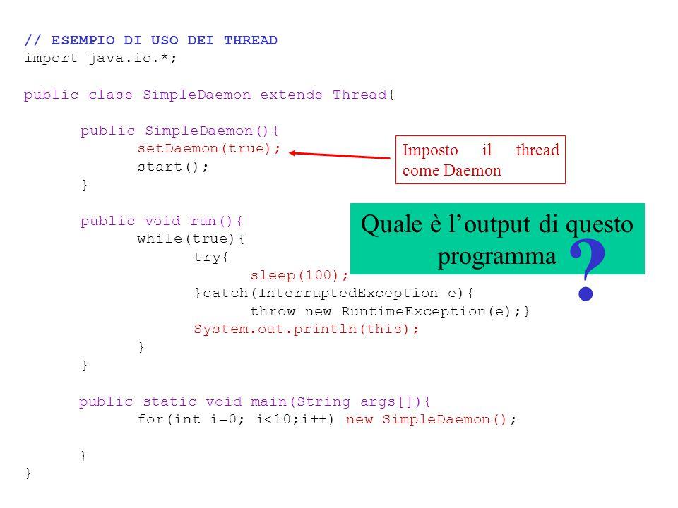 Quale è l'output di questo programma