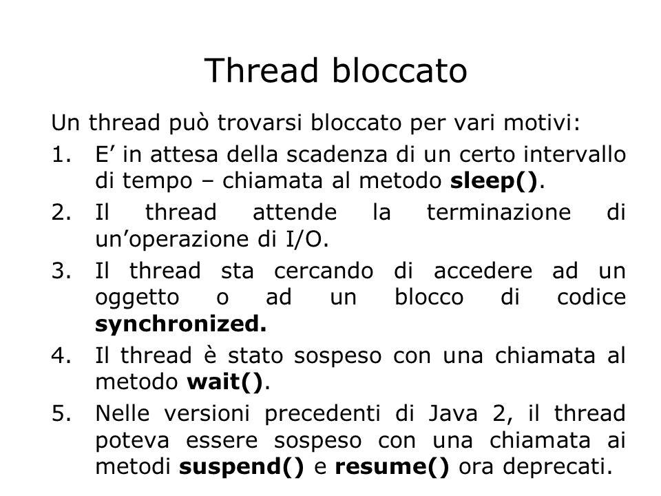Thread bloccato Un thread può trovarsi bloccato per vari motivi: