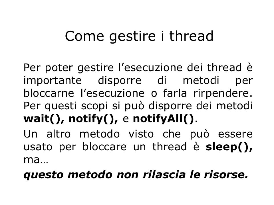 Come gestire i thread