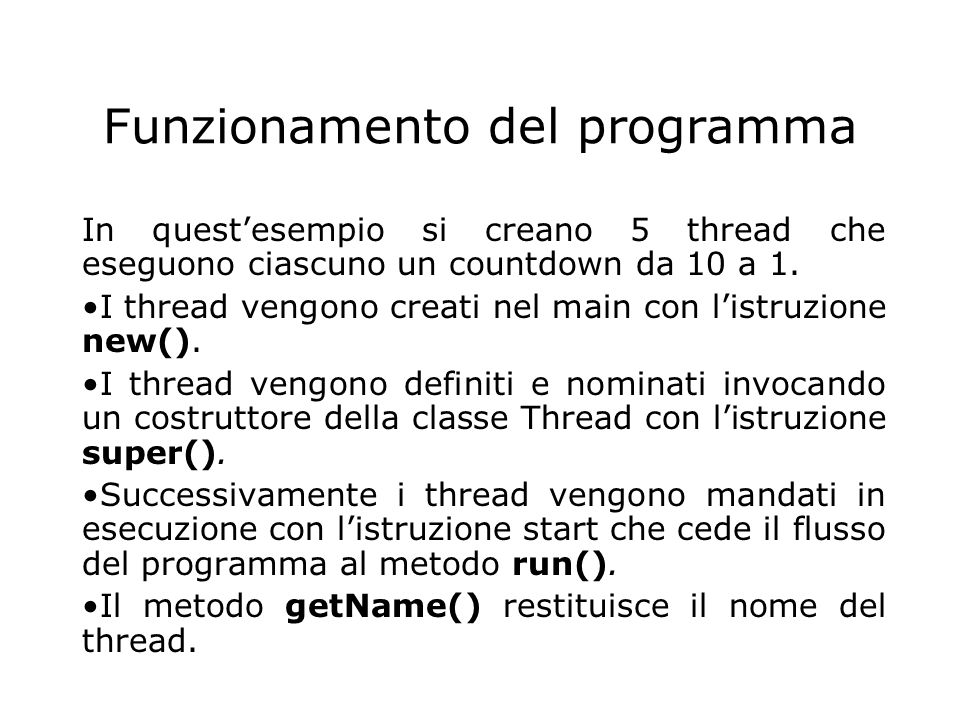 Funzionamento del programma