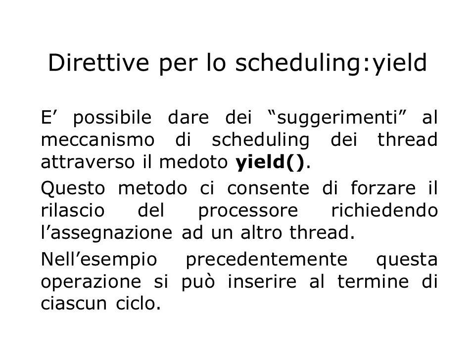 Direttive per lo scheduling:yield