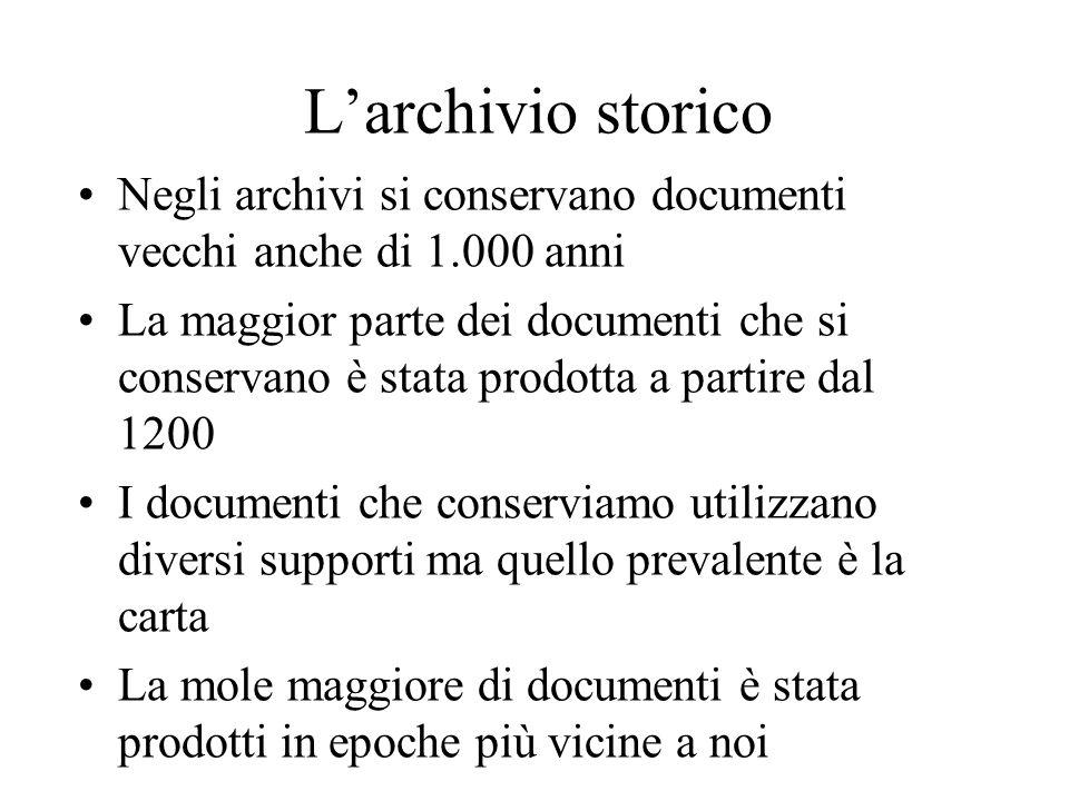 L'archivio storico Negli archivi si conservano documenti vecchi anche di 1.000 anni.