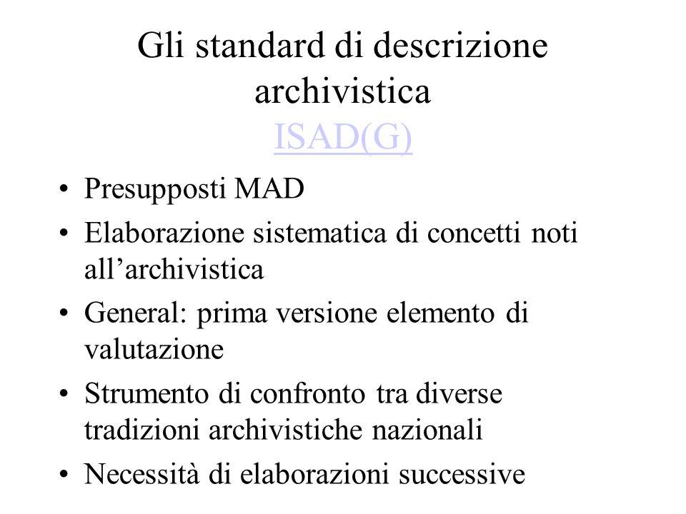 Gli standard di descrizione archivistica ISAD(G)