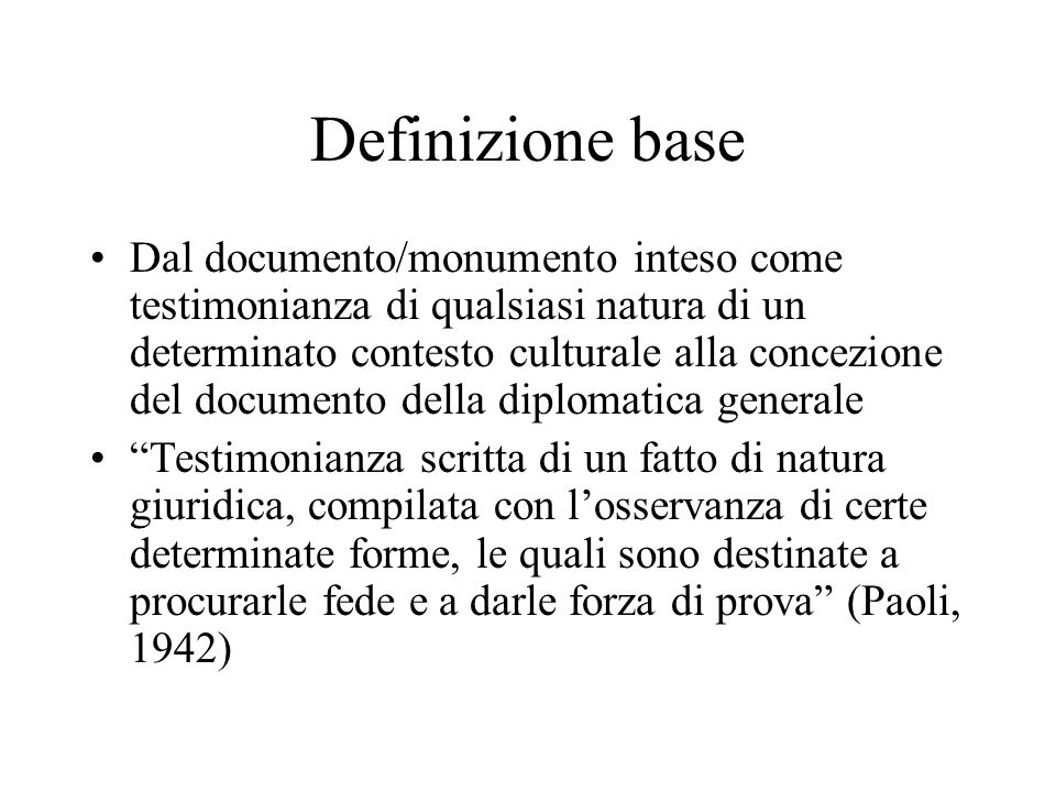 Definizione base