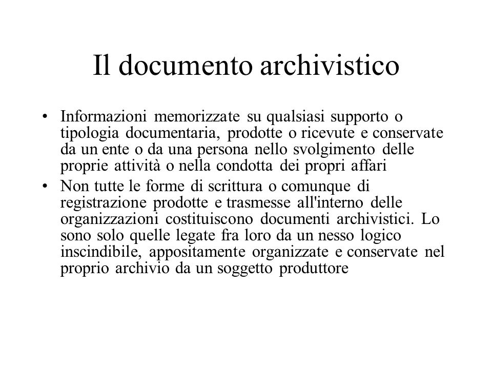 Il documento archivistico