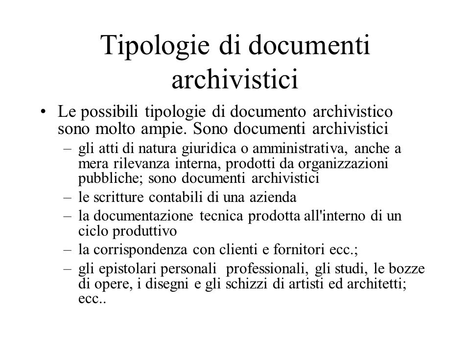 Tipologie di documenti archivistici