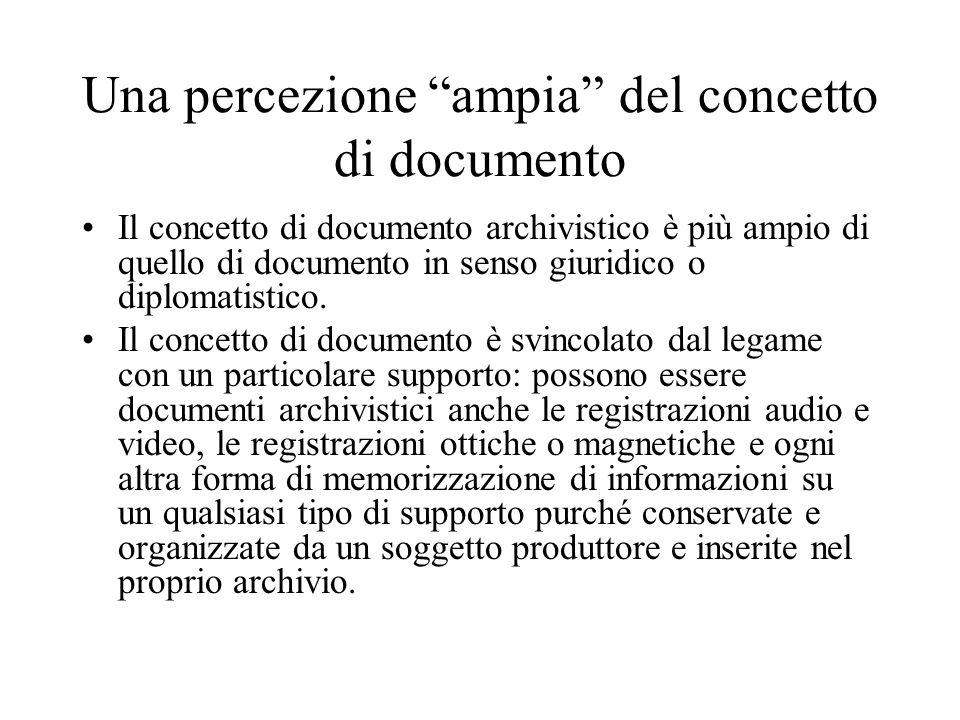 Una percezione ampia del concetto di documento