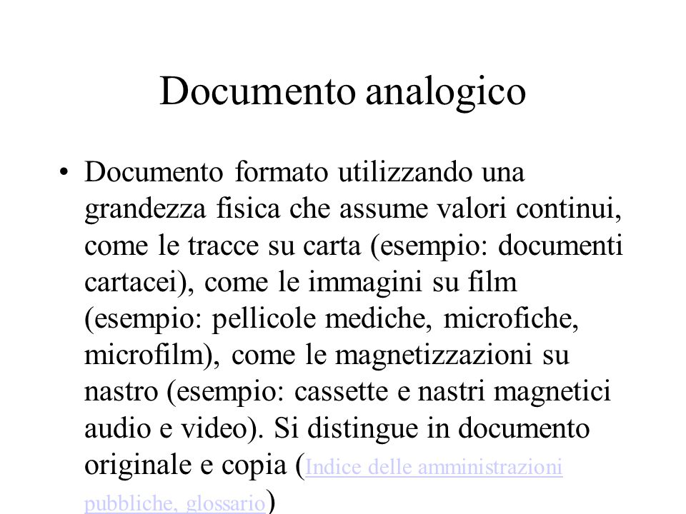 Documento analogico