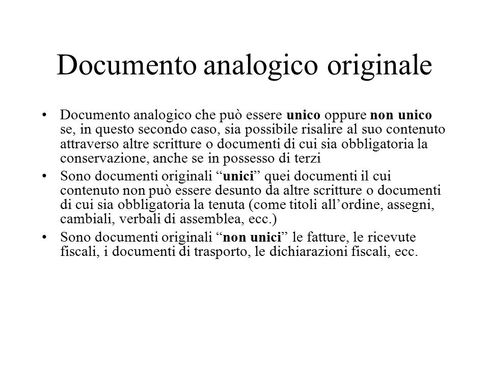 Documento analogico originale