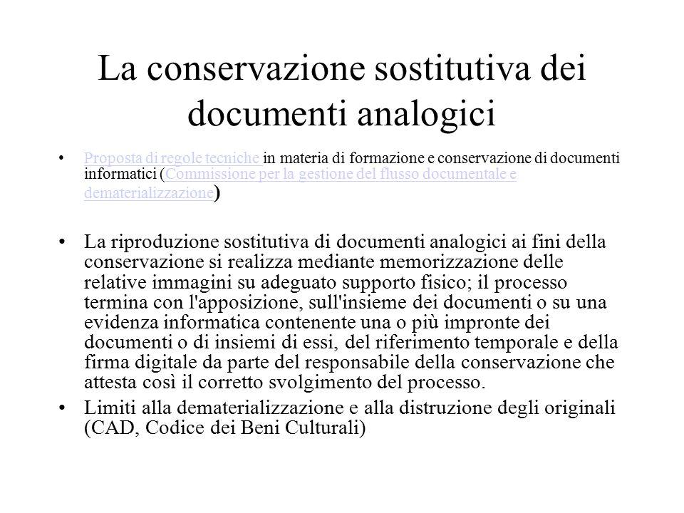 La conservazione sostitutiva dei documenti analogici