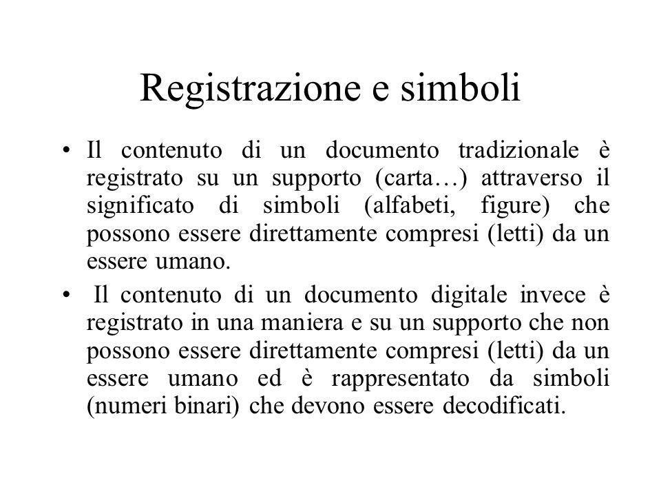 Registrazione e simboli