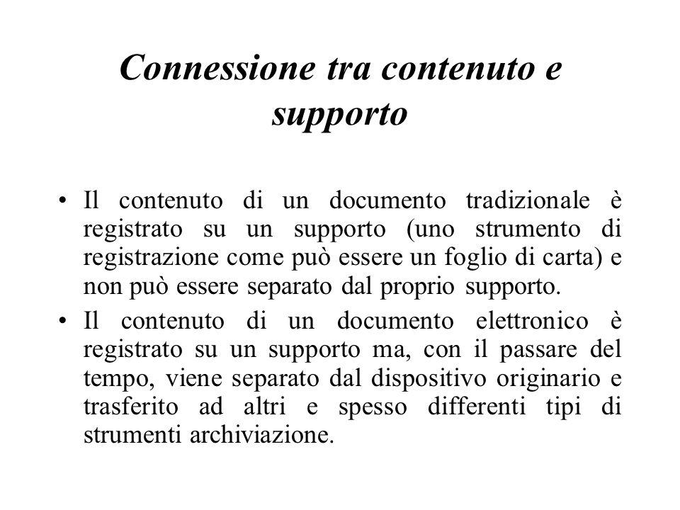 Connessione tra contenuto e supporto