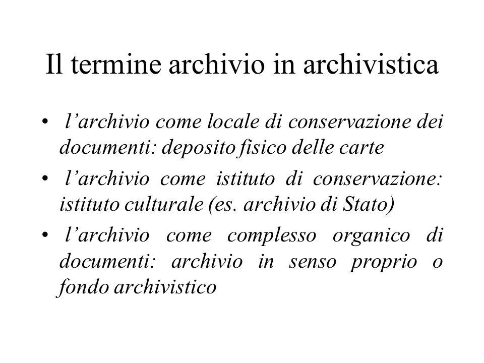 Il termine archivio in archivistica
