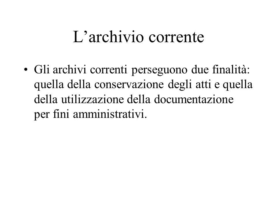 L'archivio corrente
