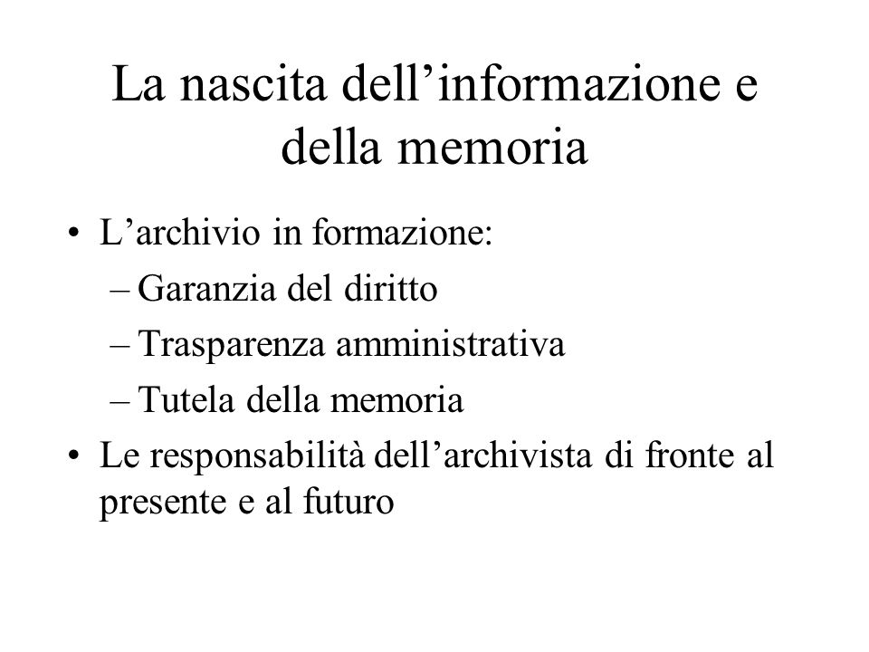 La nascita dell'informazione e della memoria
