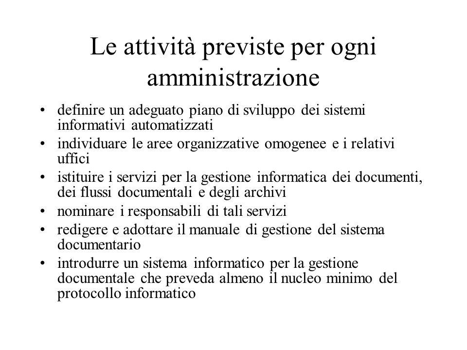Le attività previste per ogni amministrazione