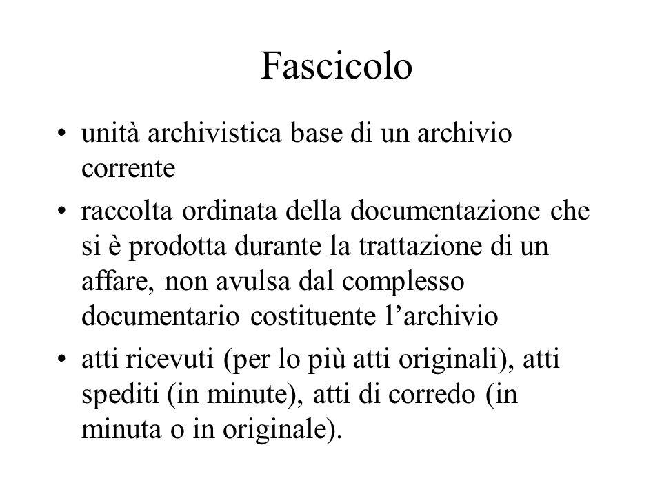 Fascicolo unità archivistica base di un archivio corrente