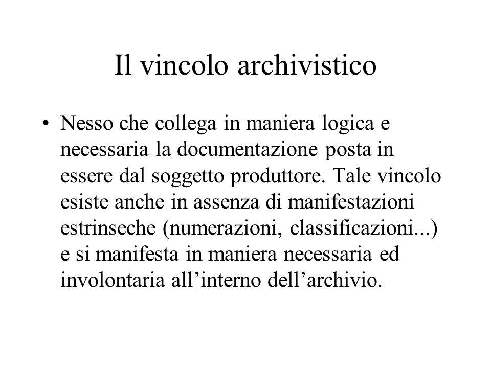Il vincolo archivistico