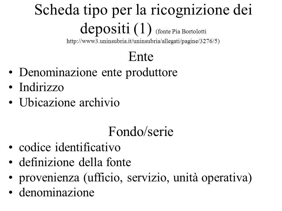 Scheda tipo per la ricognizione dei depositi (1) (fonte Pia Bortolotti http://www3.uninsubria.it/uninsubria/allegati/pagine/3276/5)