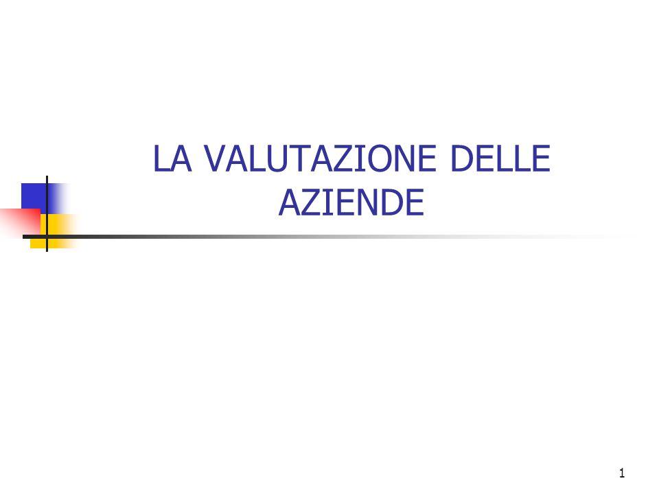 LA VALUTAZIONE DELLE AZIENDE