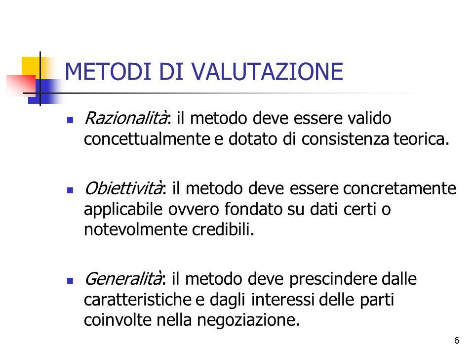 METODI DI VALUTAZIONE Razionalità: il metodo deve essere valido concettualmente e dotato di consistenza teorica.