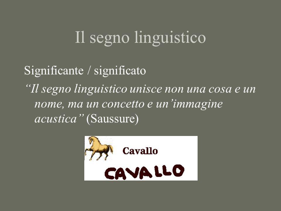 Il segno linguistico Significante / significato