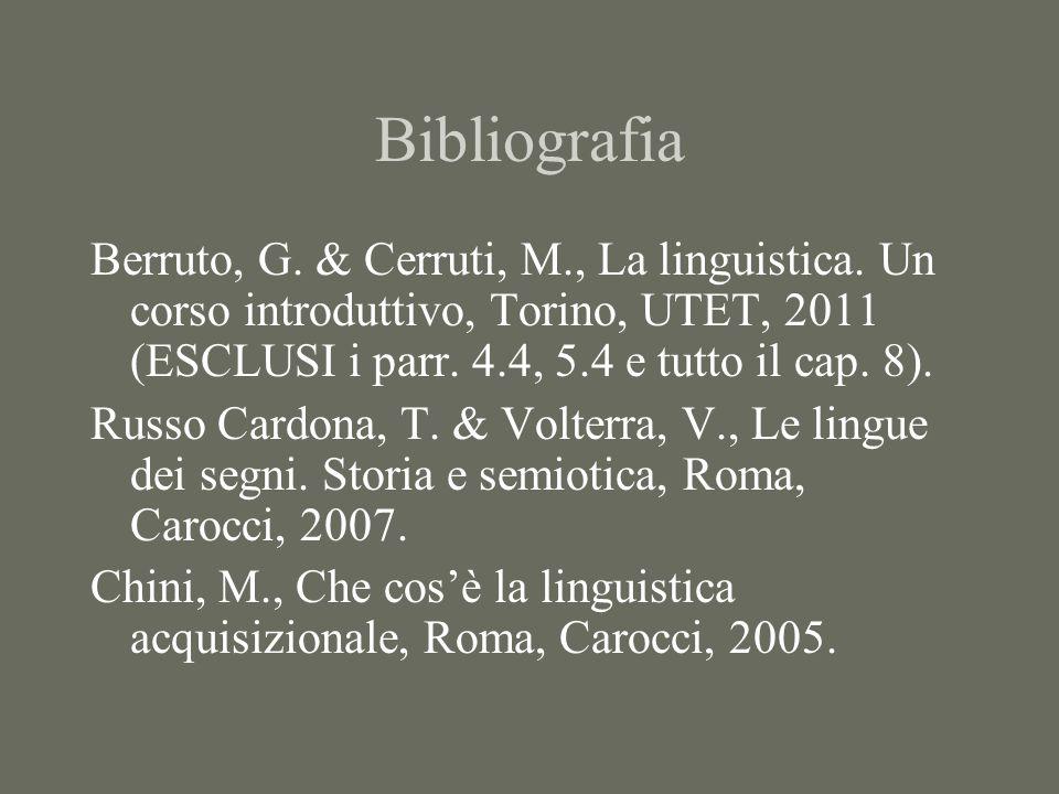 Bibliografia Berruto, G. & Cerruti, M., La linguistica. Un corso introduttivo, Torino, UTET, 2011 (ESCLUSI i parr. 4.4, 5.4 e tutto il cap. 8).