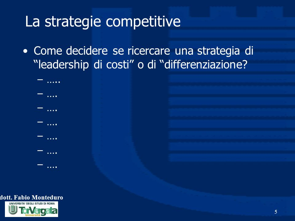 La strategie competitive
