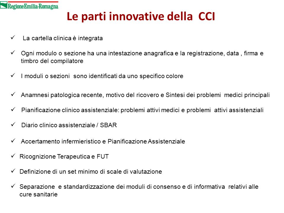 Le parti innovative della CCI