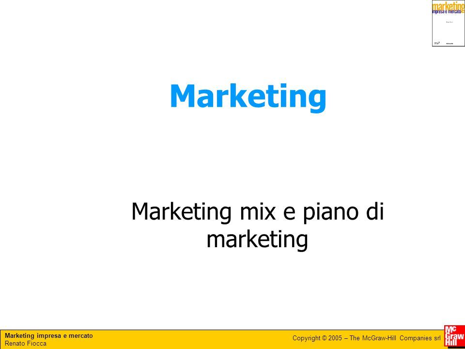 Marketing mix e piano di marketing