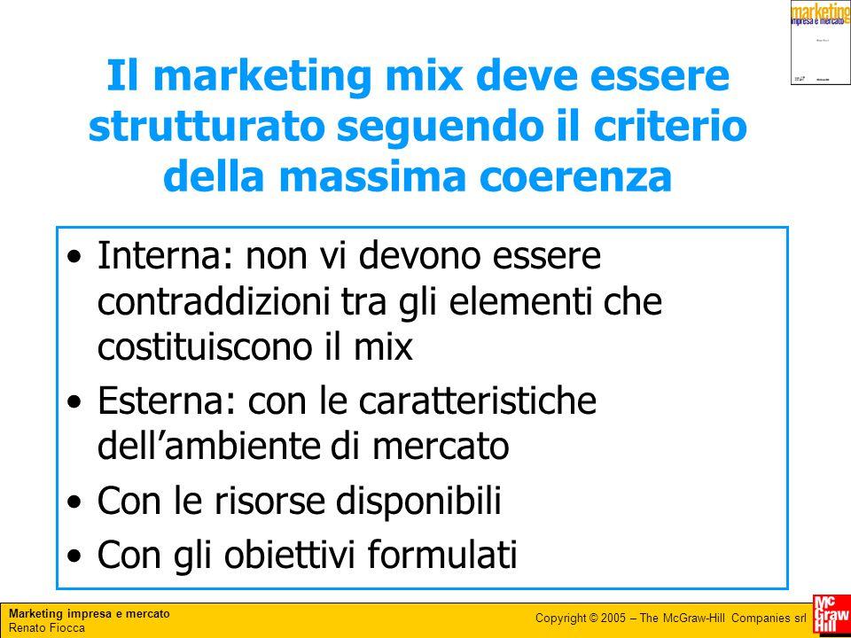 Il marketing mix deve essere strutturato seguendo il criterio della massima coerenza
