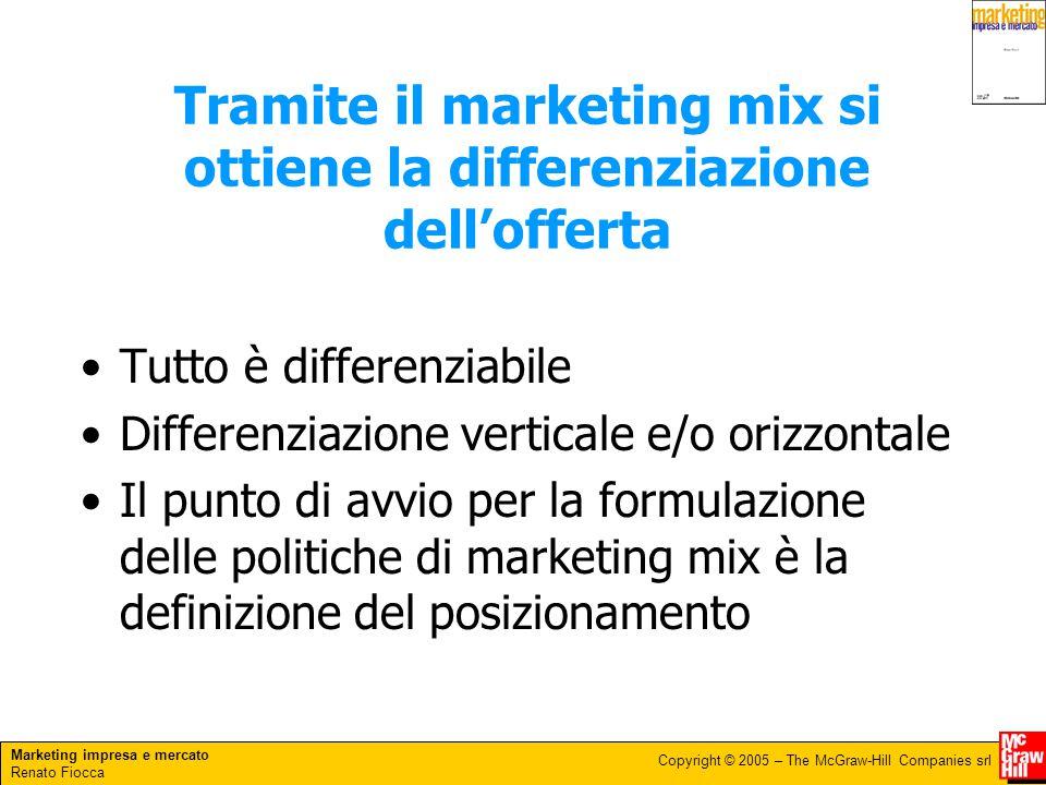 Tramite il marketing mix si ottiene la differenziazione dell'offerta