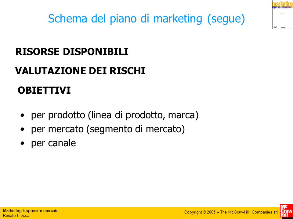 Schema del piano di marketing (segue)