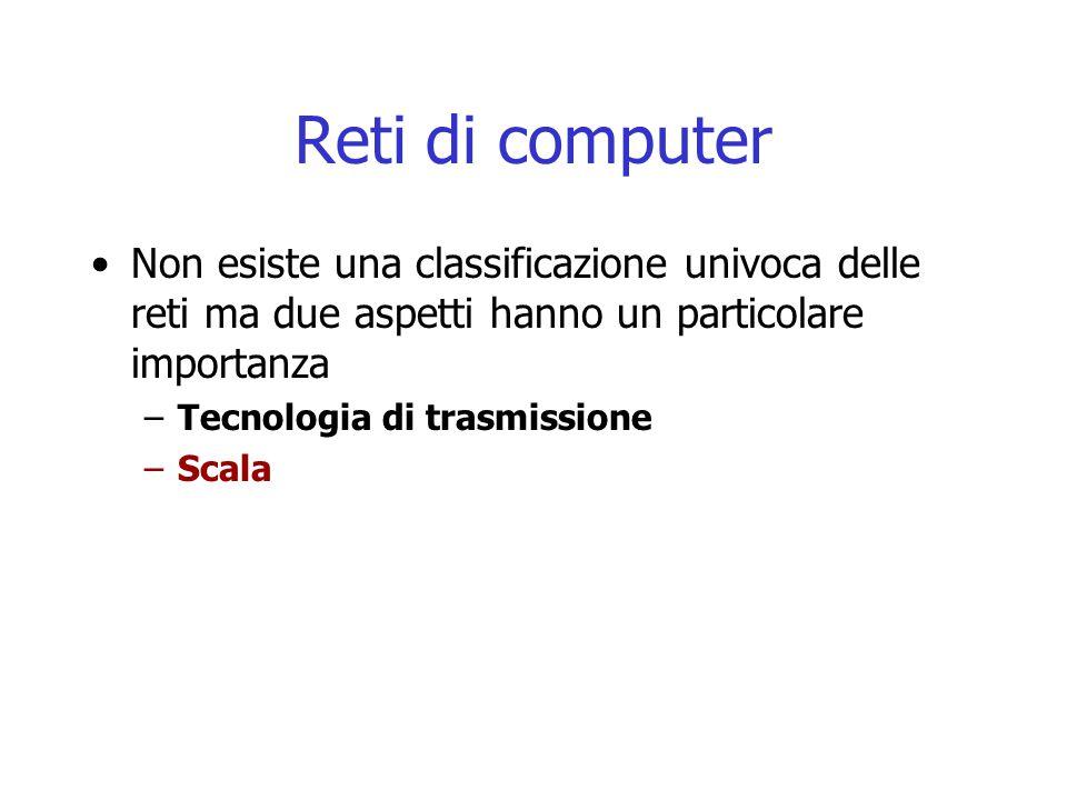 Reti di computer Non esiste una classificazione univoca delle reti ma due aspetti hanno un particolare importanza.