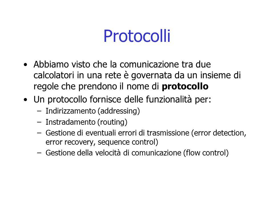 Protocolli Abbiamo visto che la comunicazione tra due calcolatori in una rete è governata da un insieme di regole che prendono il nome di protocollo.