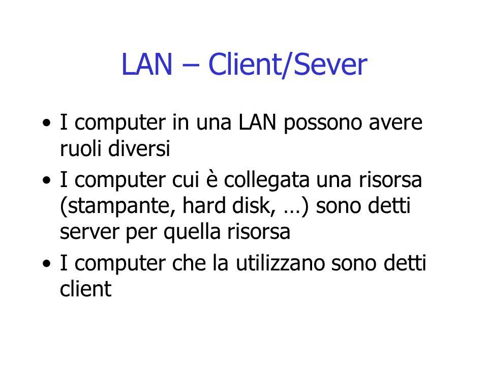 LAN – Client/Sever I computer in una LAN possono avere ruoli diversi
