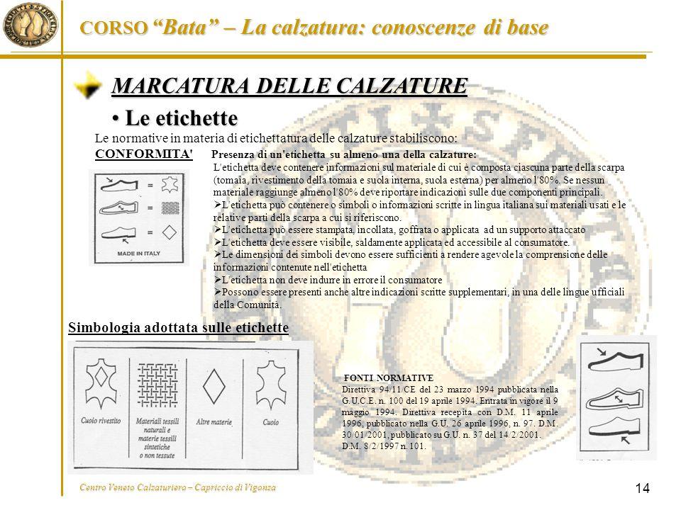 MARCATURA DELLE CALZATURE Le etichette